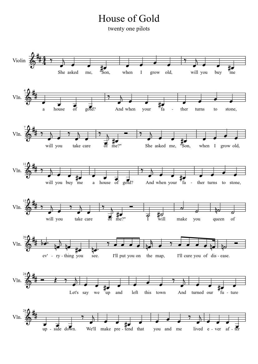 House Of Gold Sheet music for Violin Solo   Musescore.com