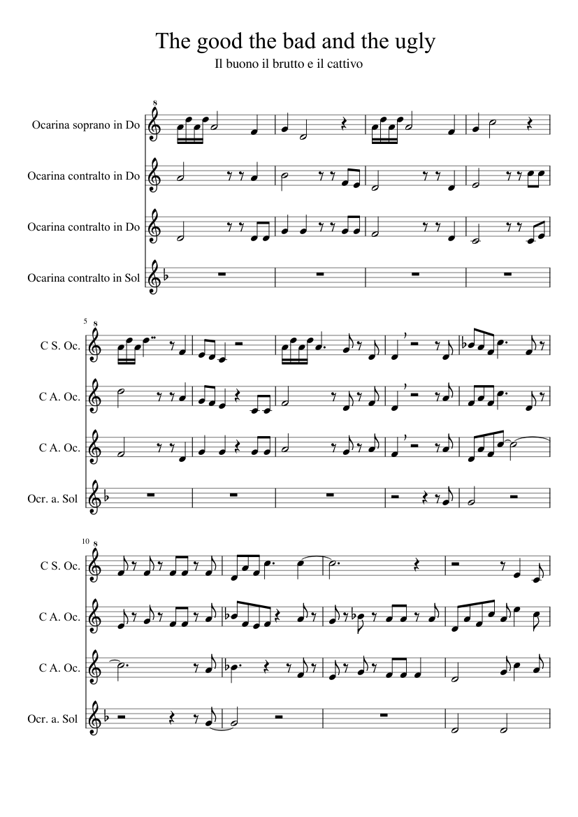 The good the bad and the ugly sheet music for flute download free.