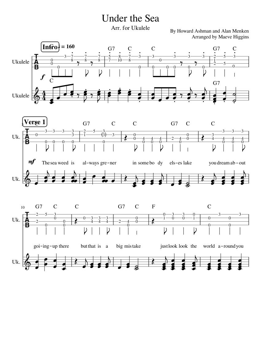 Under The Sea ~ Ukulele Tabs Chords Sheet music for Ukulele Mixed ...