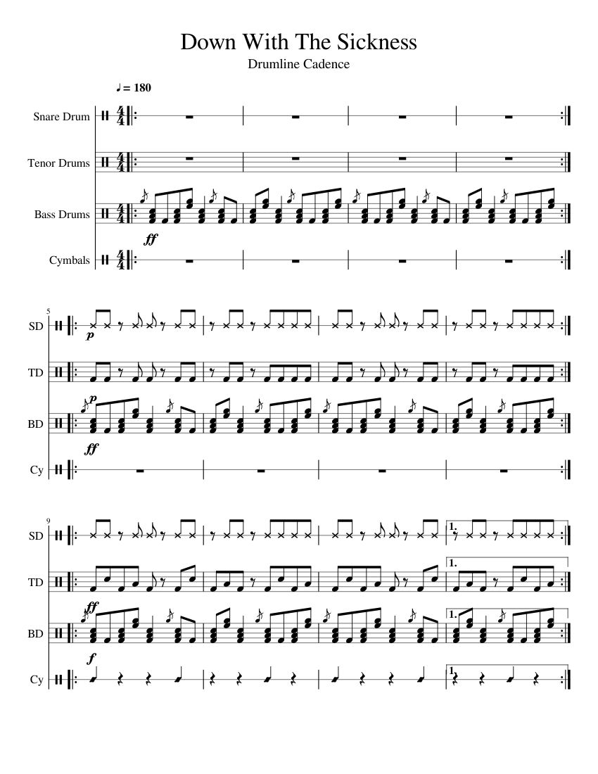 down with the sickness drumline cadence sheet music for percussion