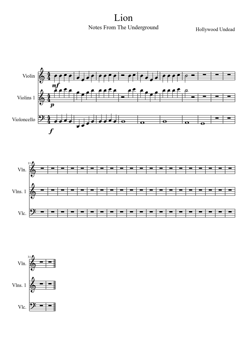 Lion-hollywood undead sheet music download free in pdf or midi.