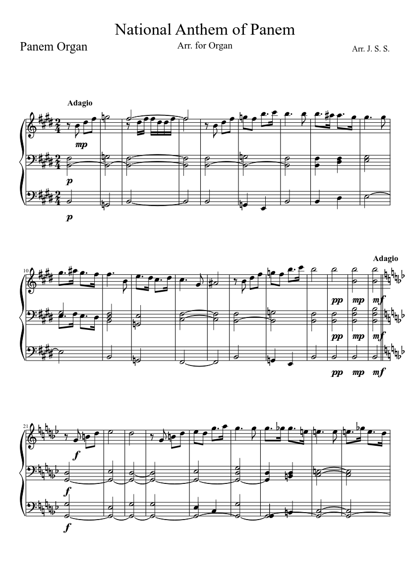 national anthem of panem sheet music for organ download free in pdf
