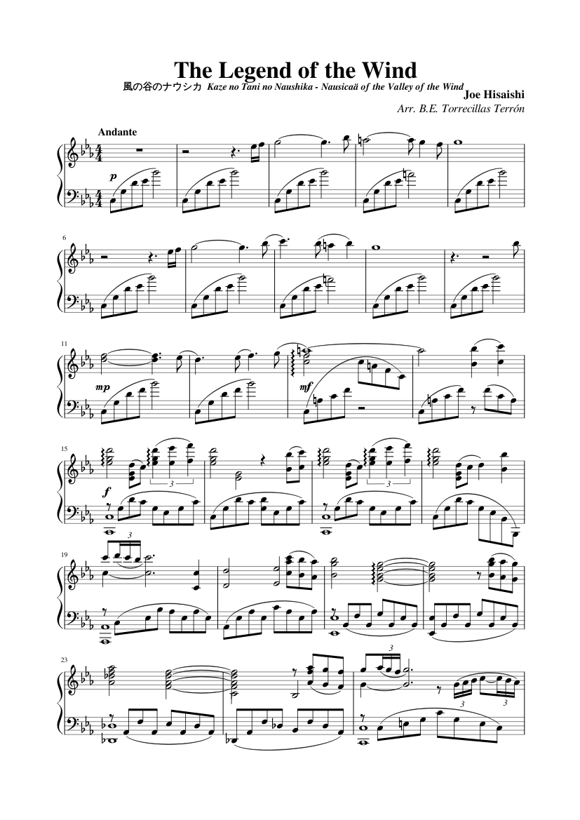 The Legend of the Wind 風の谷のナウシカ Kaze no Tani no Naushika - Nausicaä of the Valley of the Wind sheet music composed by Joe Hisaishi Arr. B.E. Torrecillas Terrón – 1 of 2 pages