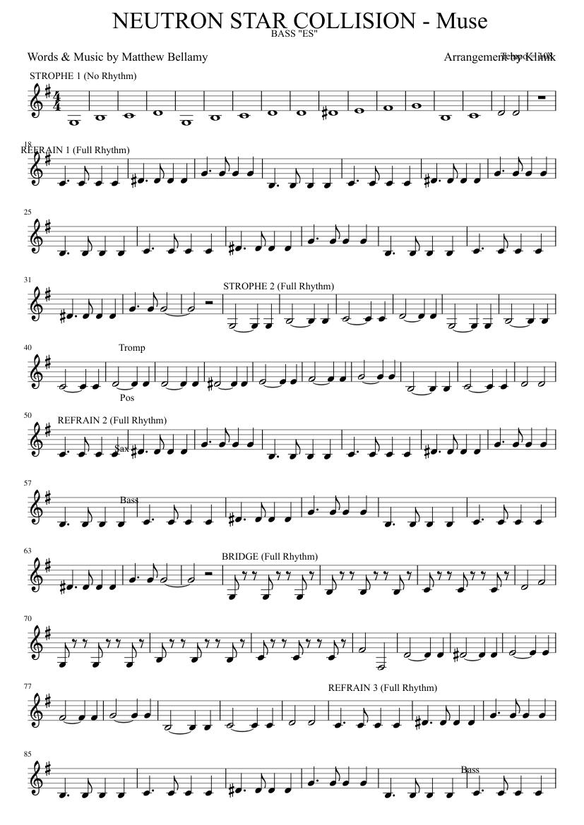 Скачать бесплатно ноты для фортепиано в песне muse neutron star.
