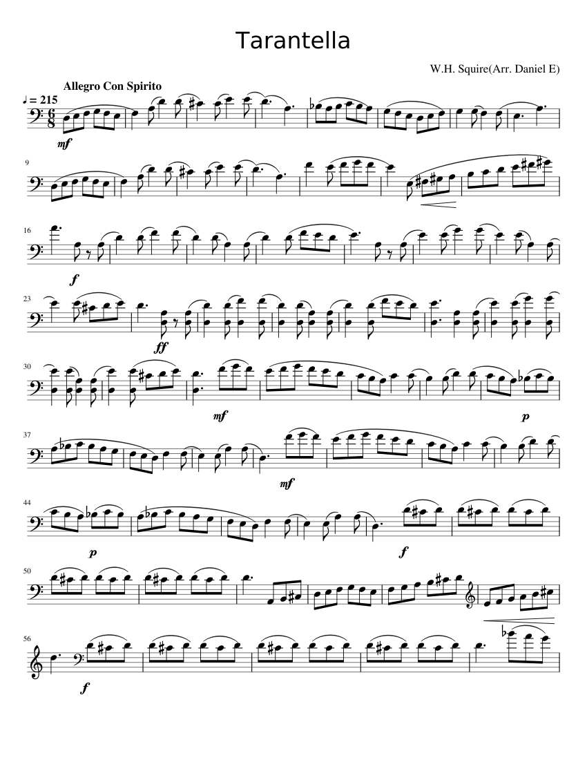 Tarantella In D Minor Sheet Music For Cello Download Free In