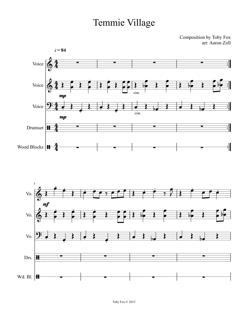 Temmie Village sheet music for Voice, Sound effects, Percussion