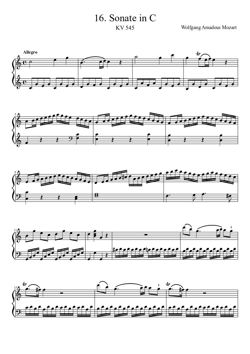 Mozart - Piano Sonata No. 16 - Allegro Sheet music for Piano (Solo)