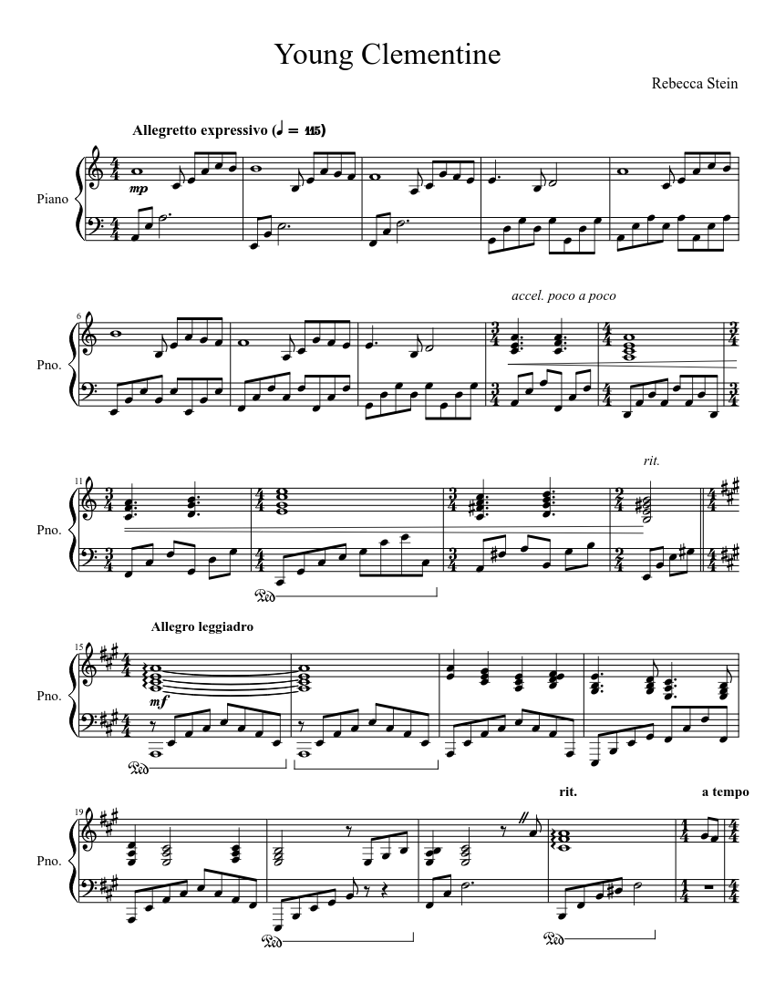 Young Clementine Sheet Music For Piano Solo Musescore Com