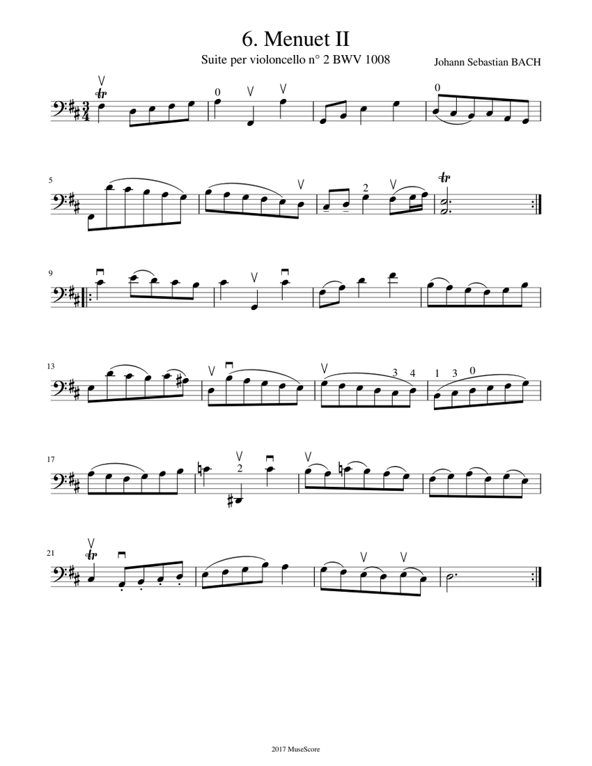 j. s. bach - cello suite n° 2 bwv 1008 - 6. menuet 2 sheet music for cello  (solo) | download and print in pdf or midi free sheet music for cello  musescore.com