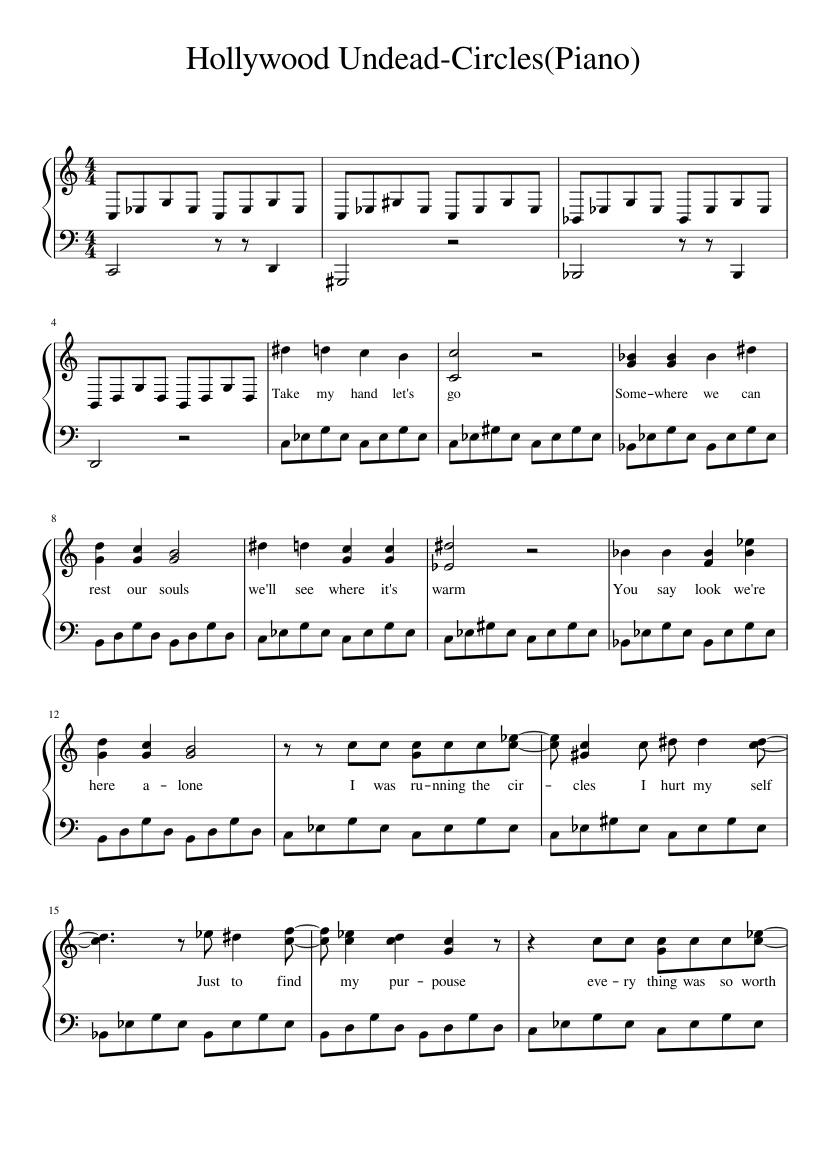 Hollywood undead-circles(piano) sheet music for piano download.