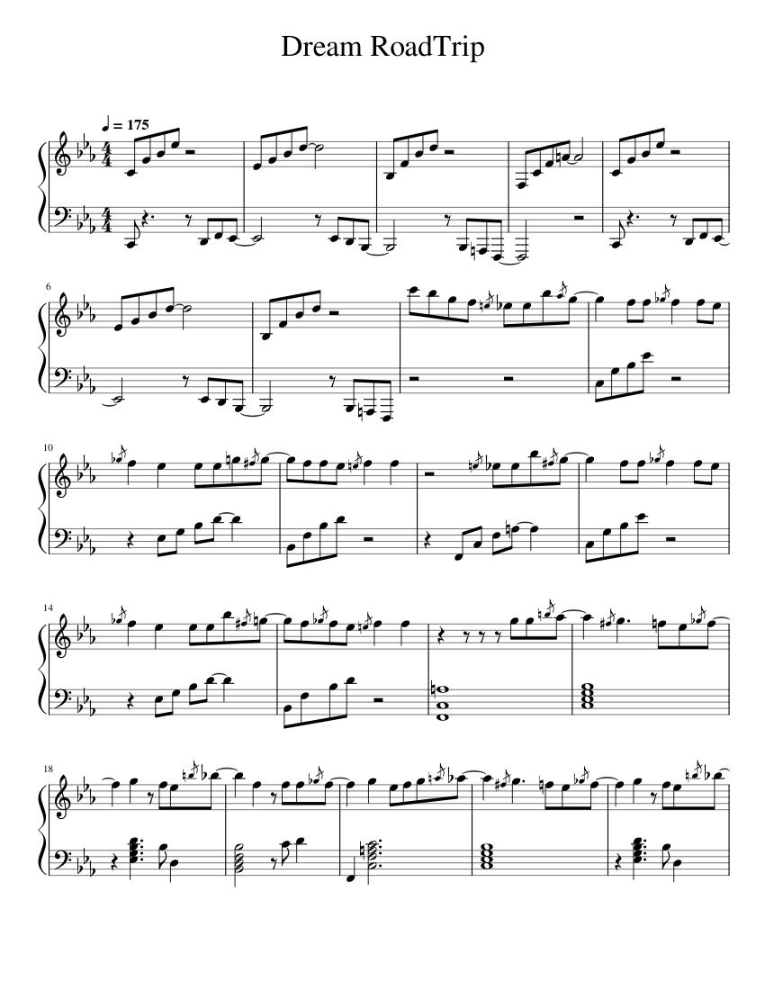 dream road trip sheet music for piano (solo)   musescore.com  musescore.com