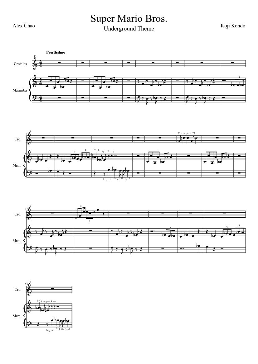 Mario Theme Song Xylophone Sheet Music