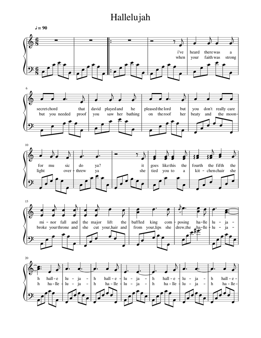 Hallelujah Sheet music for Piano Solo   Musescore.com