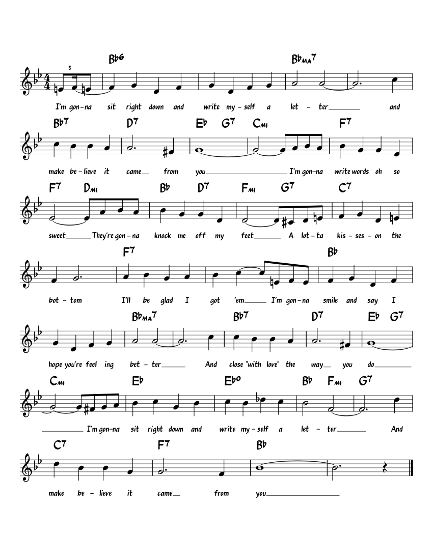 I'm Gonna Sit Right Down & Write Myself A Letter sheet music for