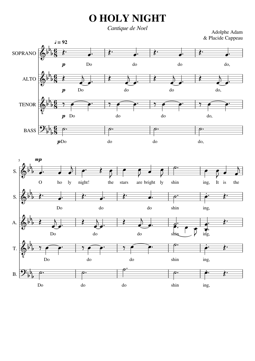 O Holy Night Satb Sheet Music For Voice Download Free In