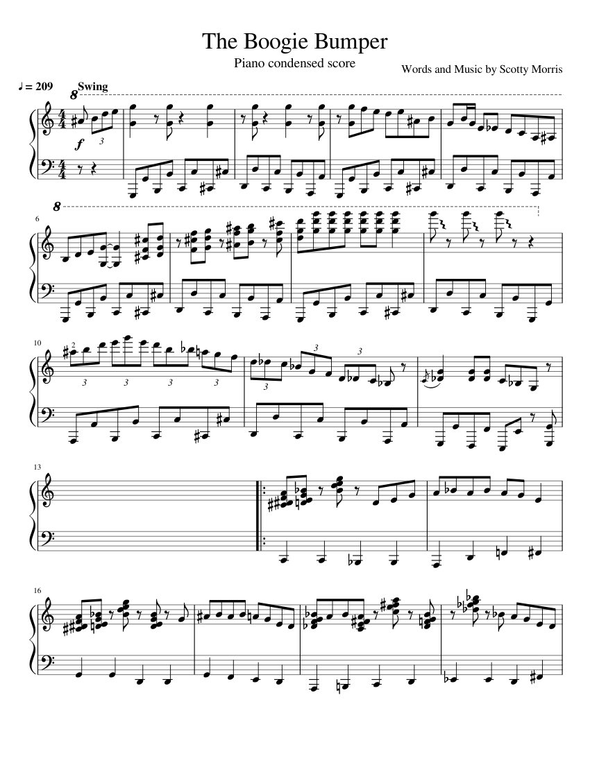 The Boogie Bumper By Big Bad Voodoo Daddy Sheet Music For