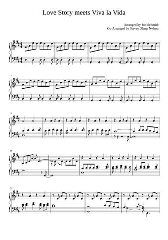 Coldplay Love Story Meets Viva La Vida Sheet Music For Piano Solo Musescore Com