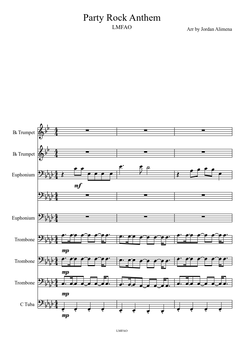 Party Rock Anthem Lmfao Sheet Music For Trombone Tuba Trumpet Brass Ensemble Musescore Com