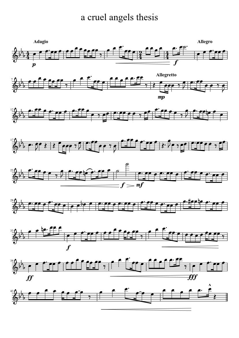 a cruel angels thesis violin sheet music