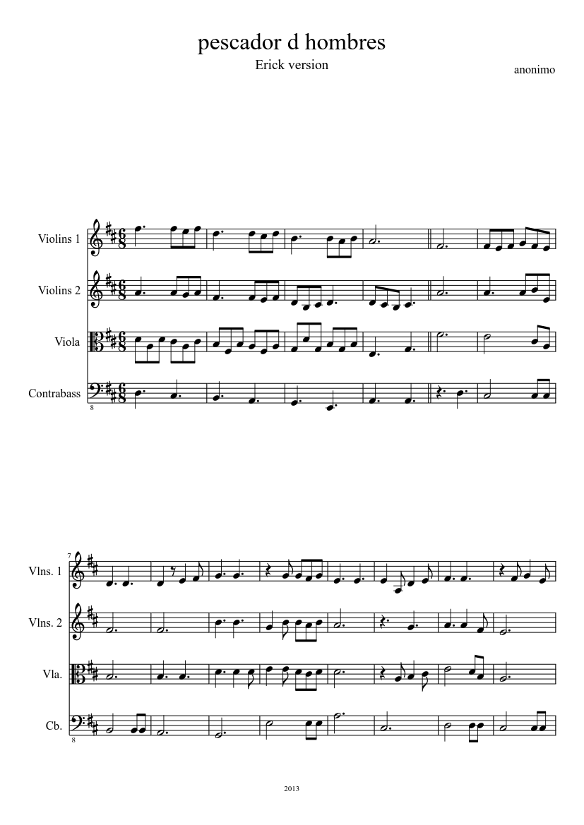 Pescador De Hombres Sheet Music For Viola Woodwinds Other Mixed Duet Musescore Com