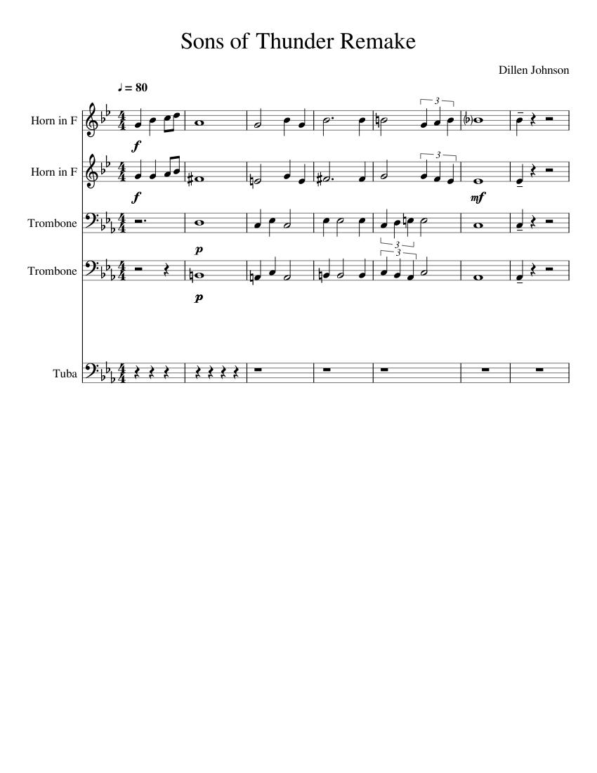 The sons of thunder sheet music for french horn, trombone, tuba.