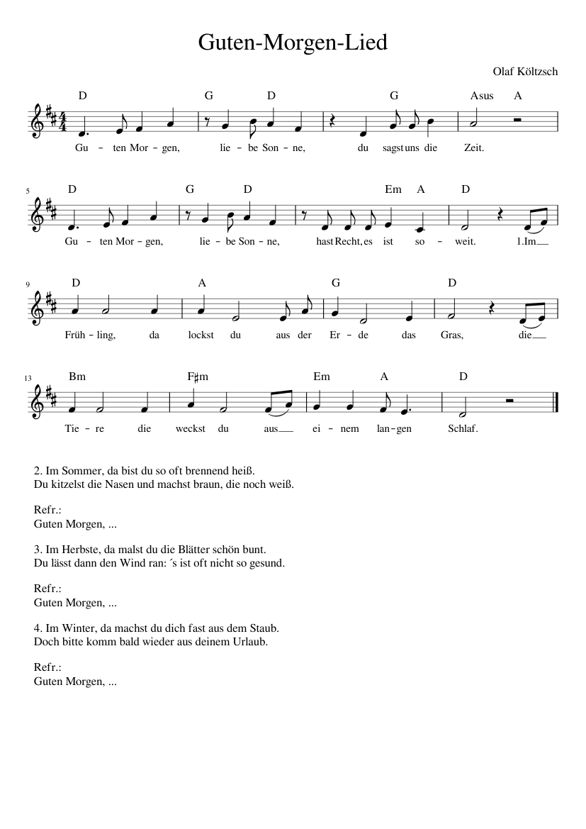 Guten Morgen Lied Sheet Music For Voice Download Free In Pdf