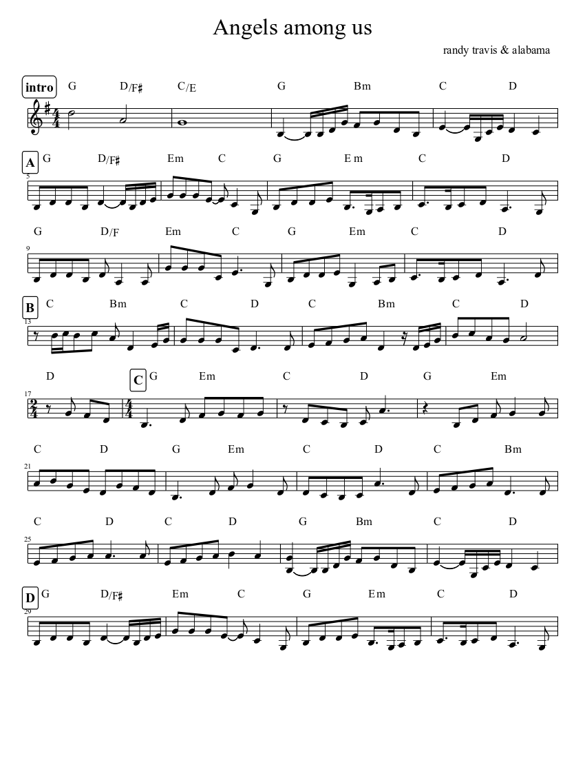 "Alabama ""angels among us"" sheet music in ab major (transposable."