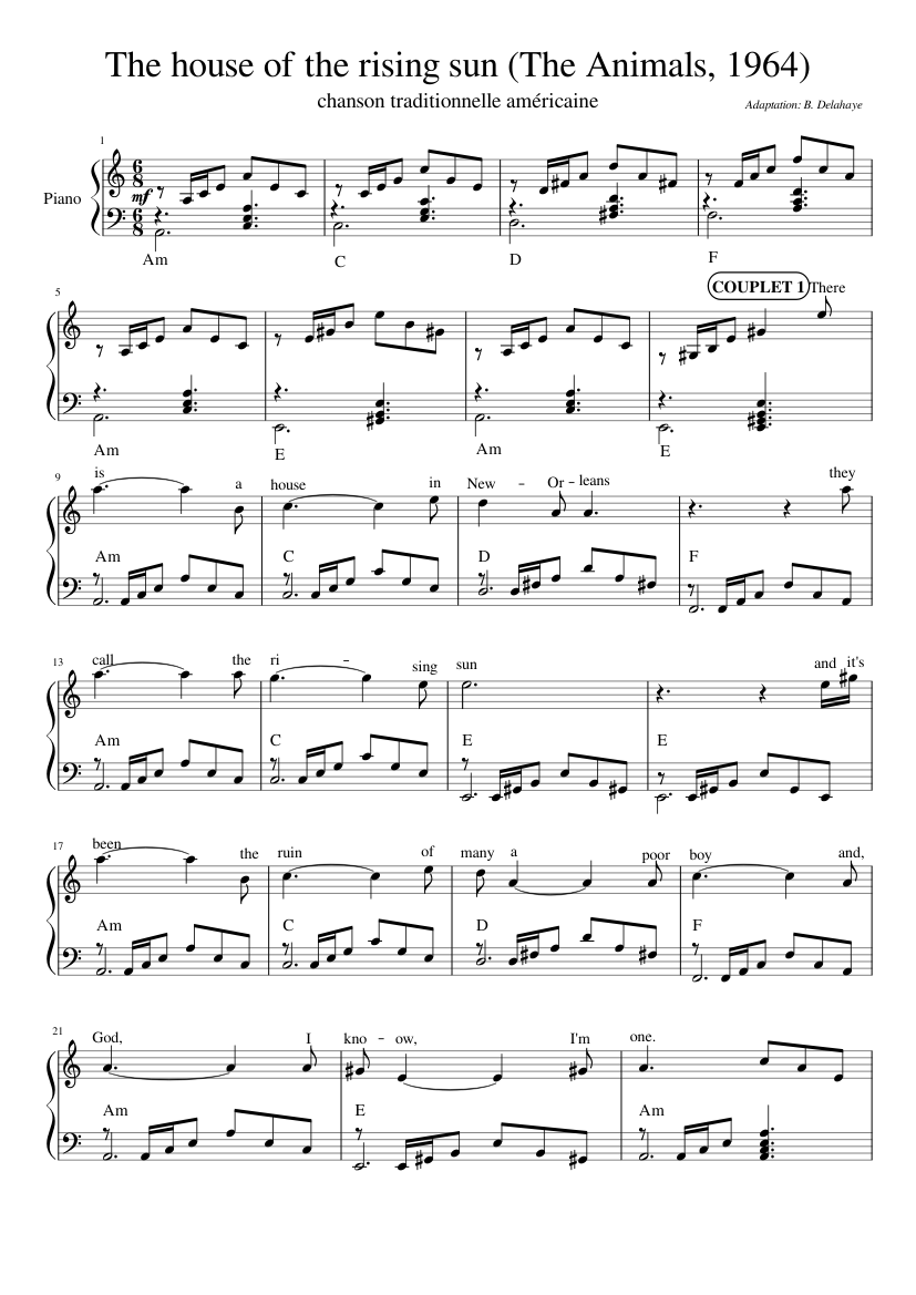 The House Of The Rising Sun Sheet Music For Piano Drum Group Guitar Bass More Instruments Mixed Quintet Musescore Com,Mirrored Bathroom Cabinets Ikea