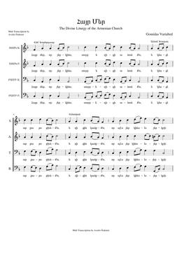 Հայր Մեր - Hayr Mer  sheet music arranged by Avedis Özdemir for SATB