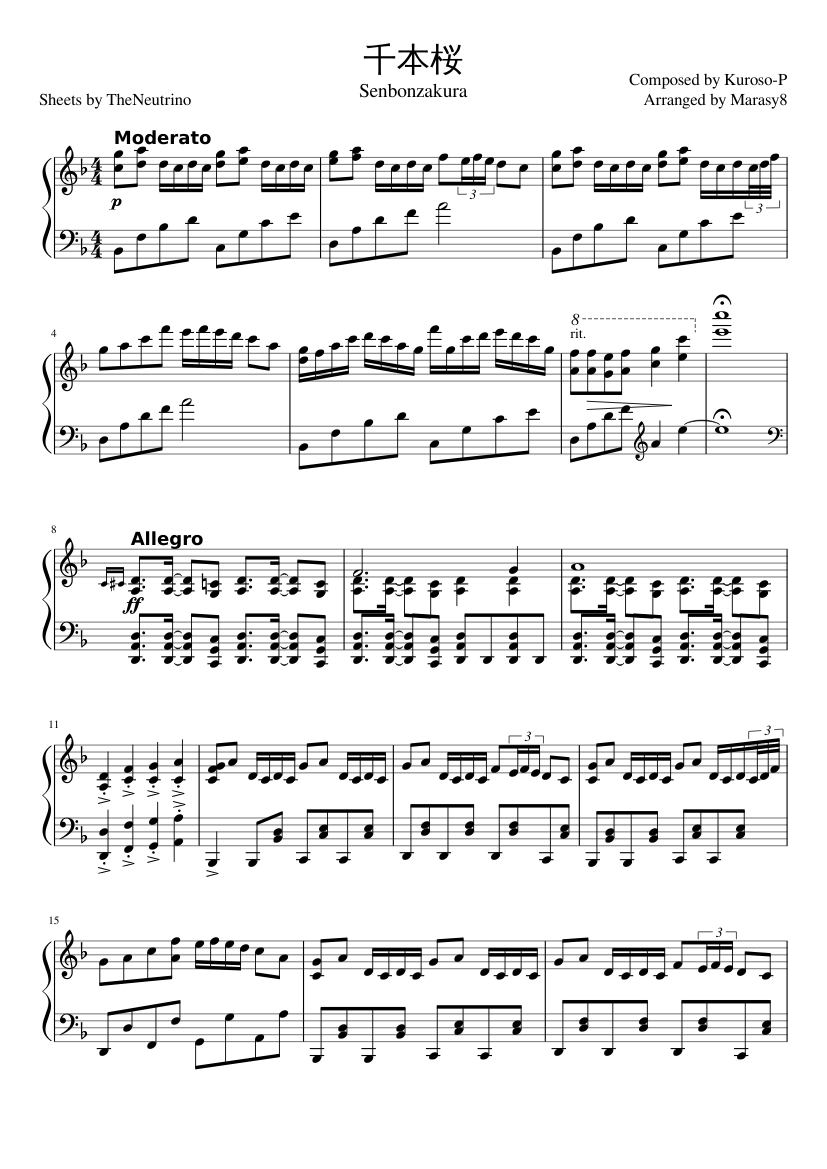 千本桜 sheet music composed by Composed by Kuroso-P Arranged by Marasy8 – 1 of 3 pages
