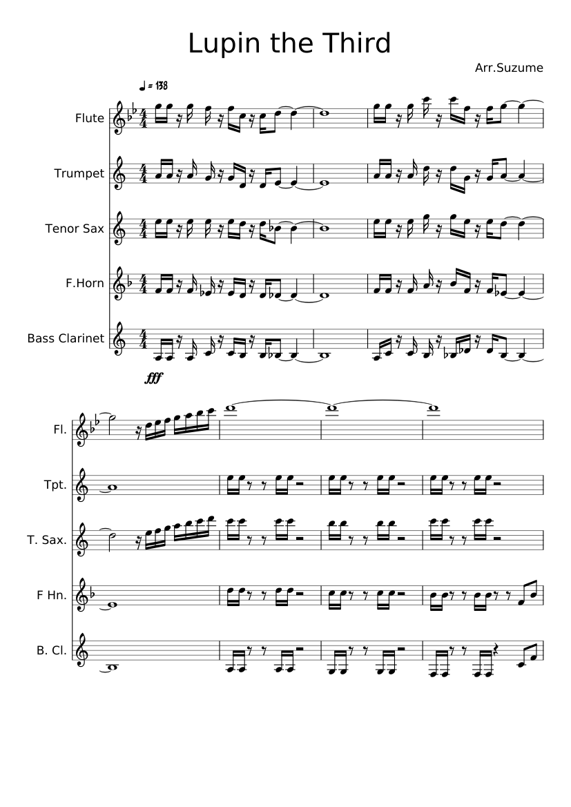Lupin iii sheet music for flute, clarinet, trumpet, tenor.