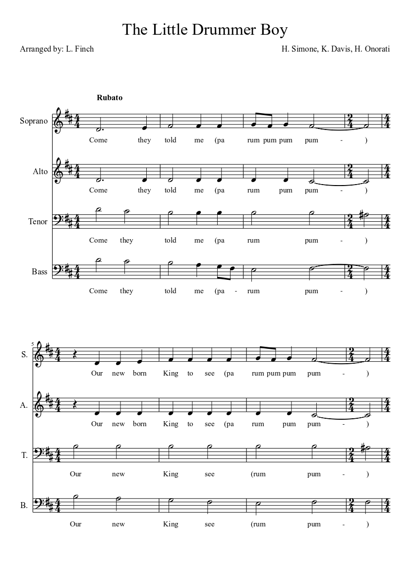 The Little Drummer Boy sheet music download free in PDF or MIDI