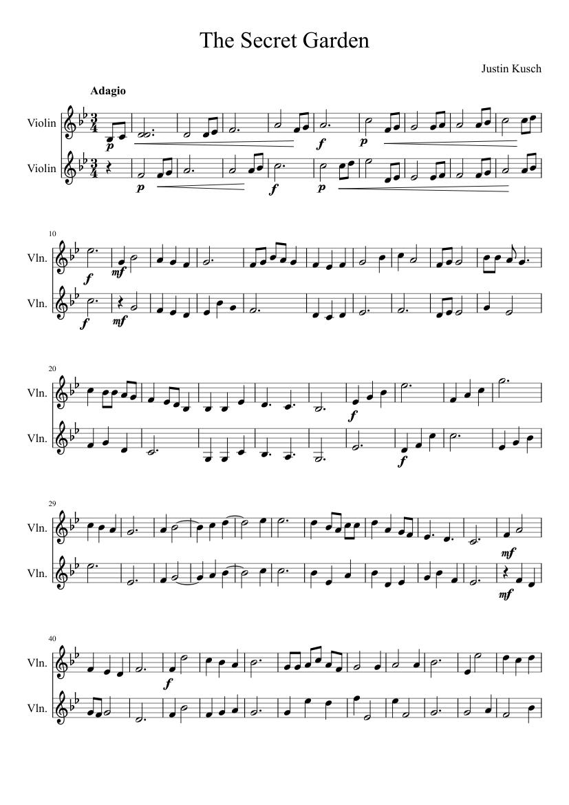 The secret garden a violin duet sheet music for violin - Secret garden musical soundtrack ...