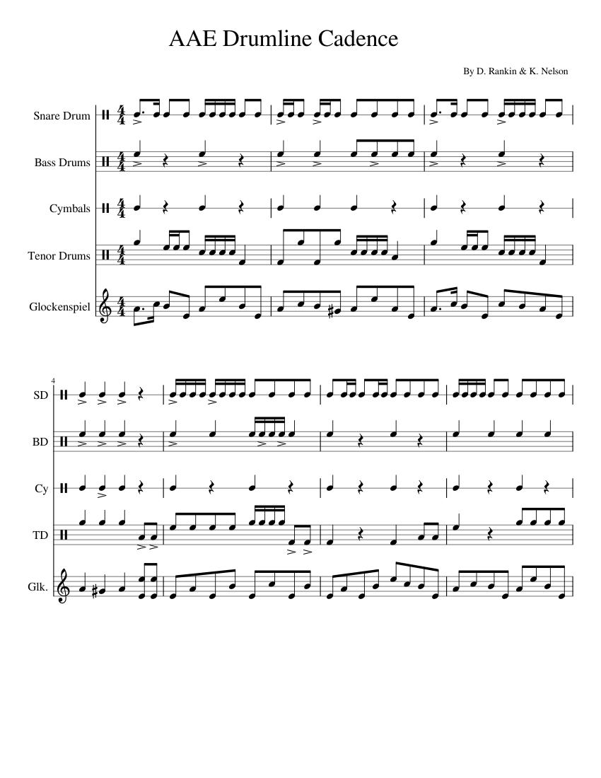 aae drumline cadence by d rankin k nelson sheet music for