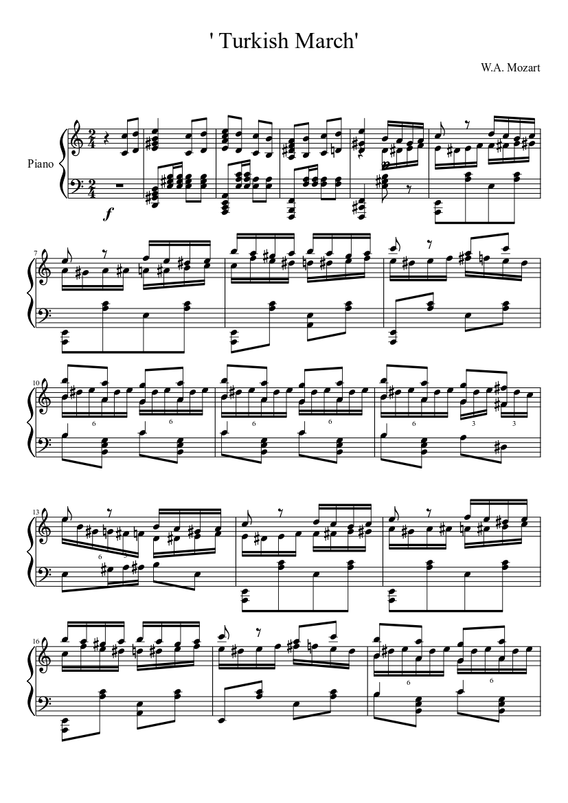 Turkish march | mozart | synthesia | piano sheet music free.