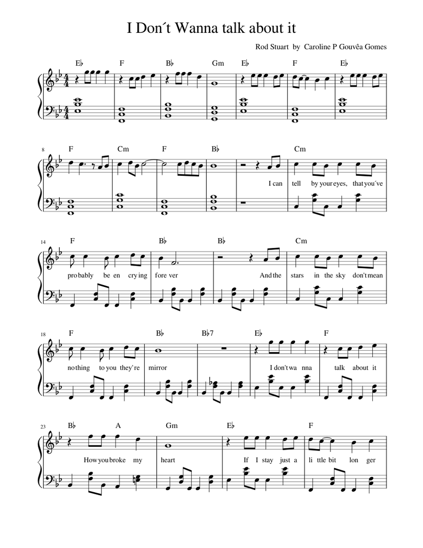 I Don t Wanna to talk about it Sheet music for Piano Solo ...