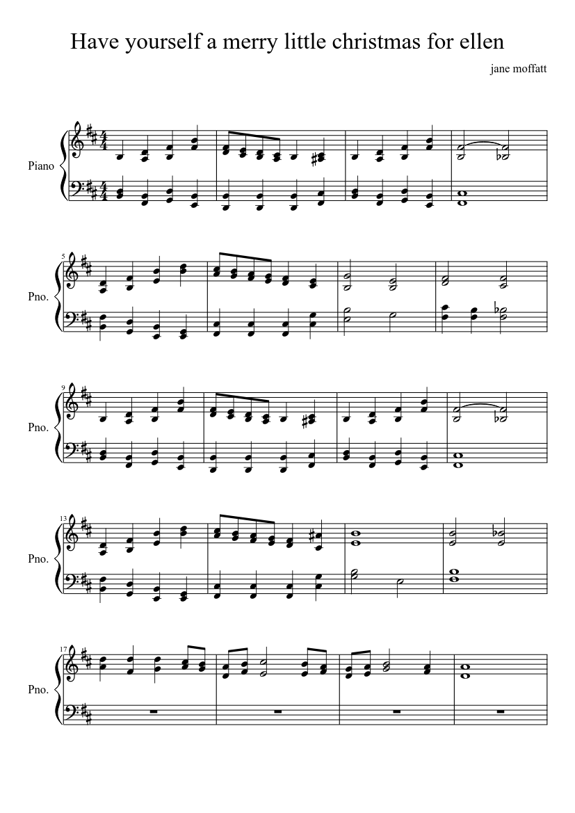 Have yourself a merry little christmas for ellen sheet music composed by jane moffatt – 1