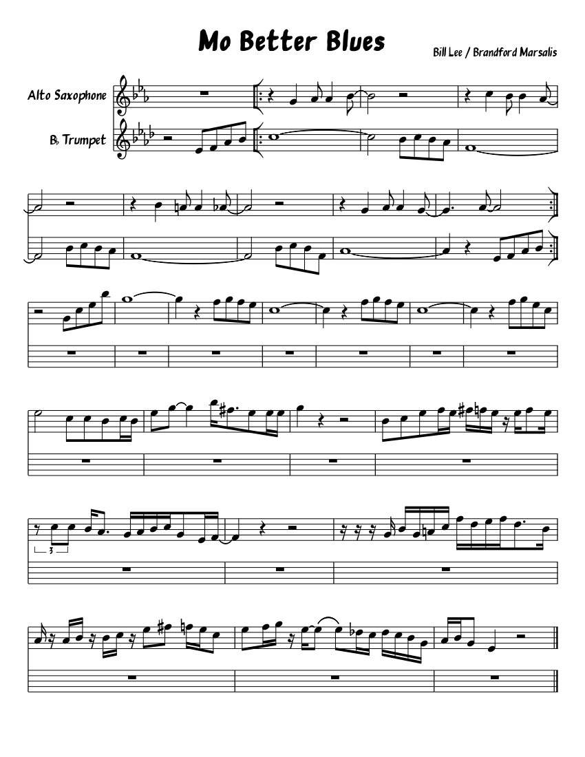 Mo Better Blues sheet music download free in PDF or MIDI