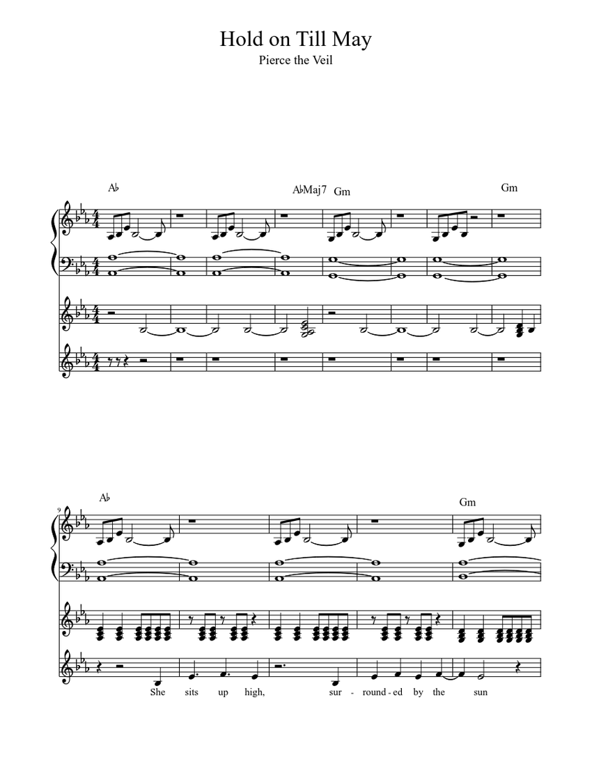 Hold On Till May Version 2 Sheet Music For Piano Vocals Guitar Piano Voice Guitar Musescore Com