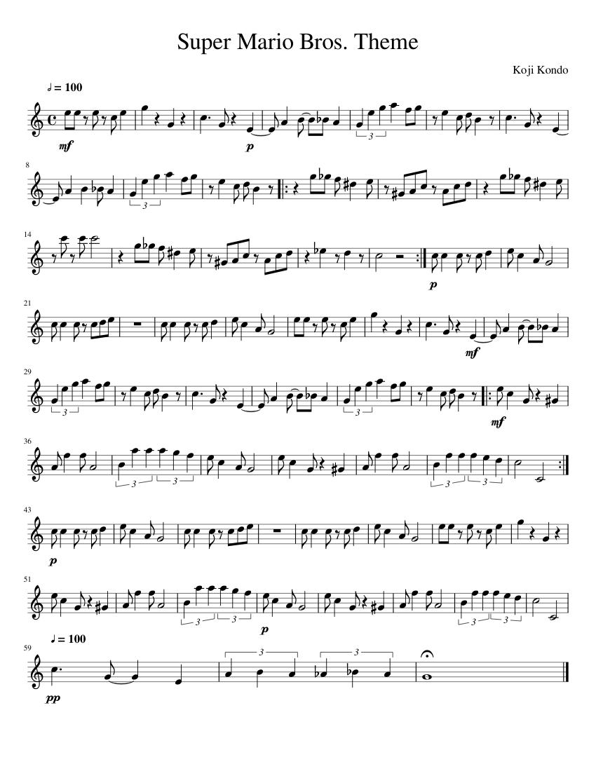Super Mario Bros Theme Sheet Music For Flute Solo Musescore Com
