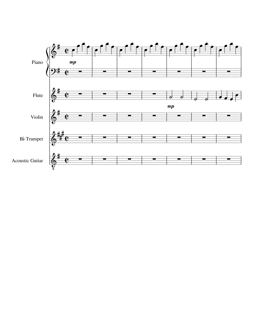 Pokemon Rby Lavender Town Sheet Music For Piano Flute Violin