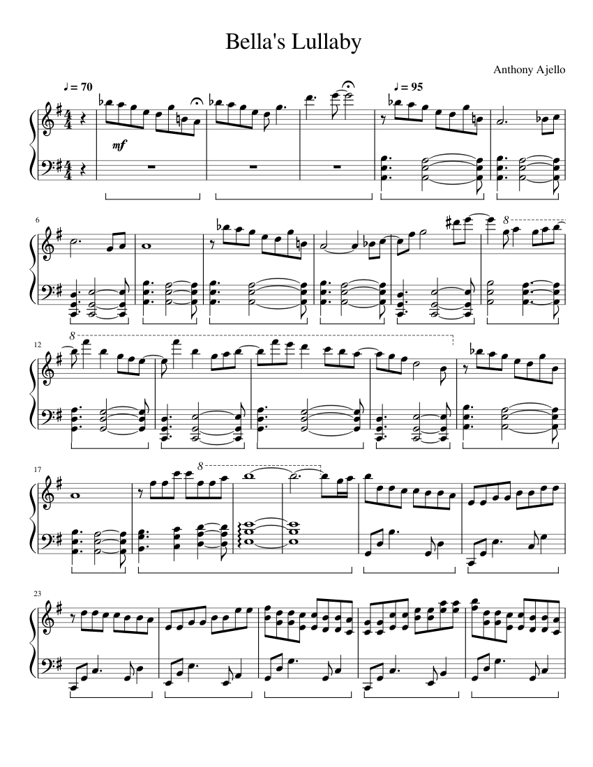 Bella S Lullaby Sheet Music For Piano Solo Musescore Com