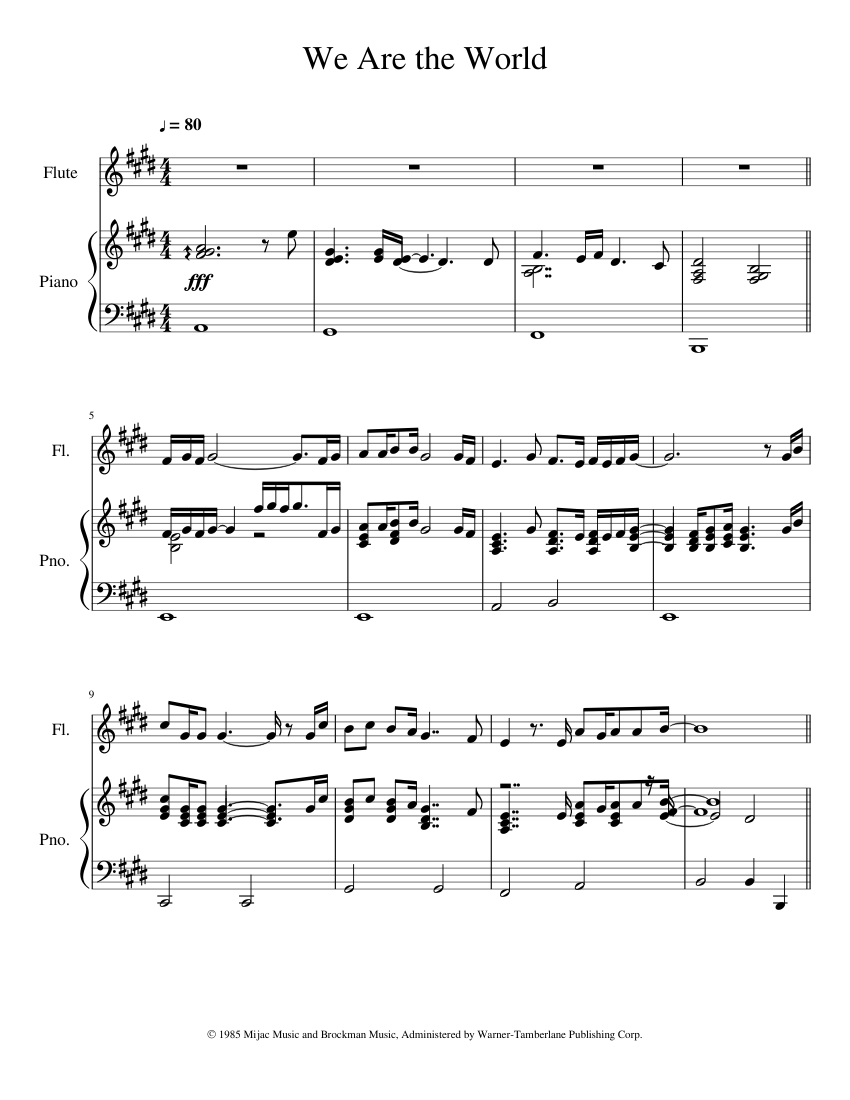 we are the world klaviernoten
