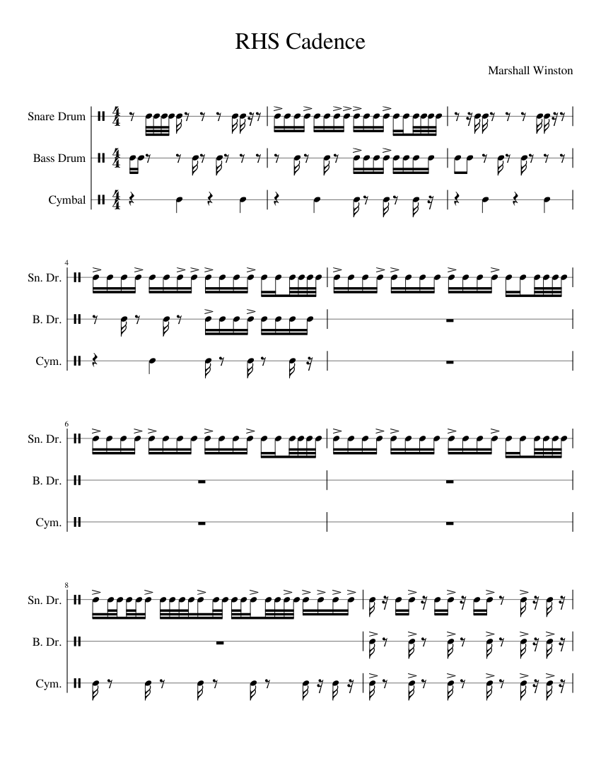 rhs durham nc cadence sheet music for percussion download free in