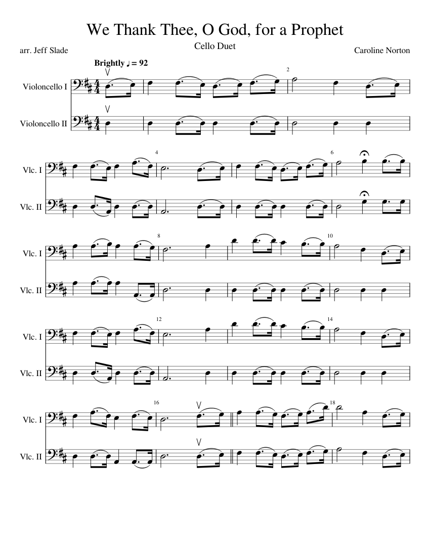 We Thank Thee O God For A Prophet Sheet Music For Cello Download
