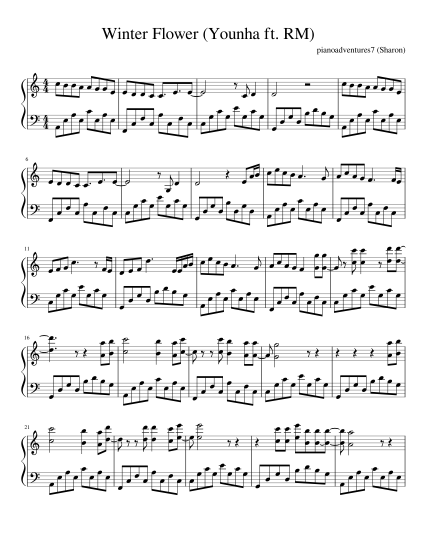 Younha RM Winter Flower piano sheet music piano sheets
