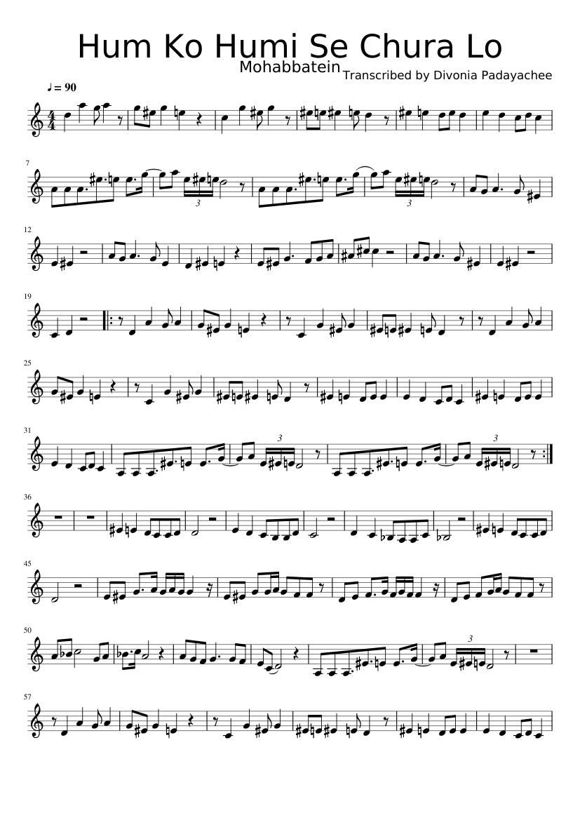 Hum Ko Humi Se Chura Lo Sheet Music For Violin Solo Musescore Com I am from malaysia, and indian persuing higher studies. hum ko humi se chura lo sheet music for