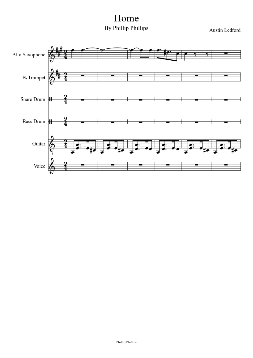 Home by phillip phillips sheet music download free in pdf or midi.
