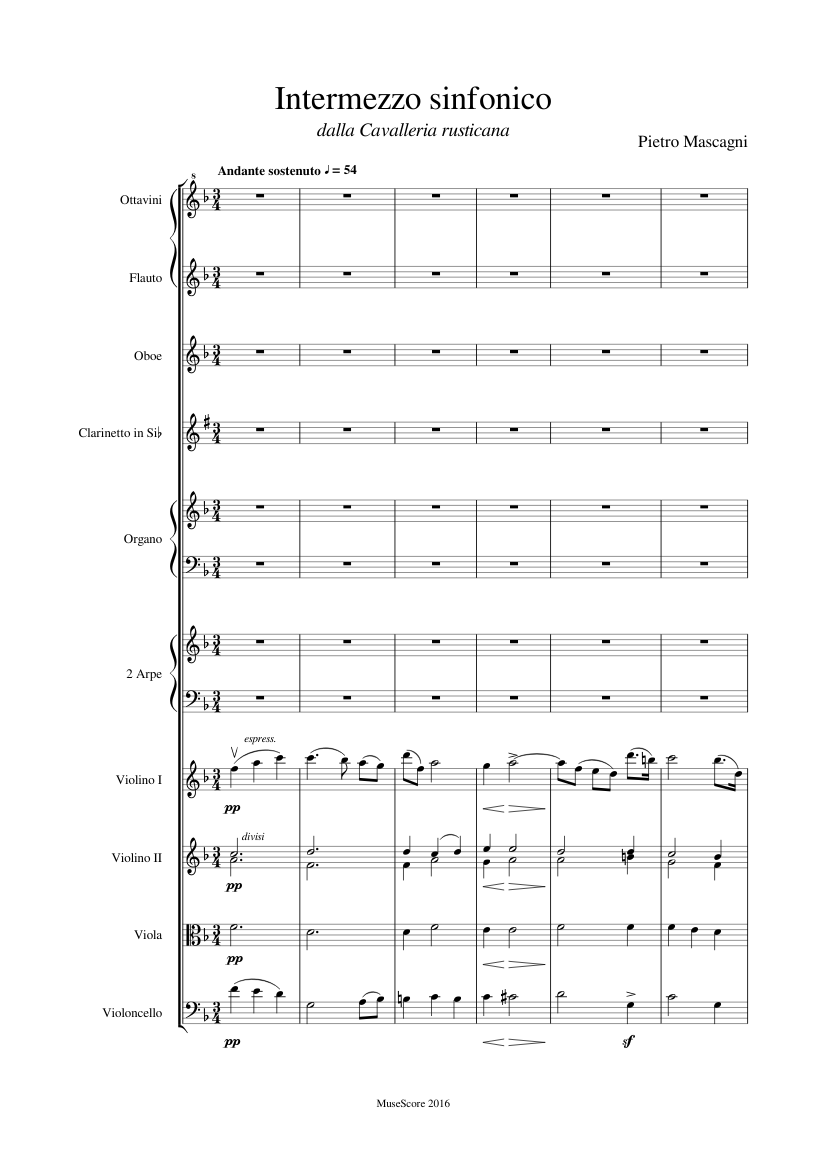 Intermezzo sinfonico sheet music for Flute, Clarinet
