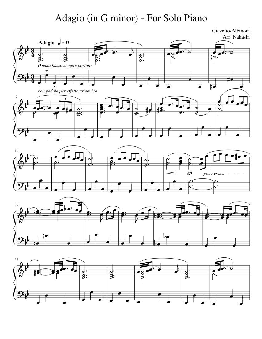 Adagio In G Minor For Solo Piano Sheet Music For Piano Solo Musescore Com